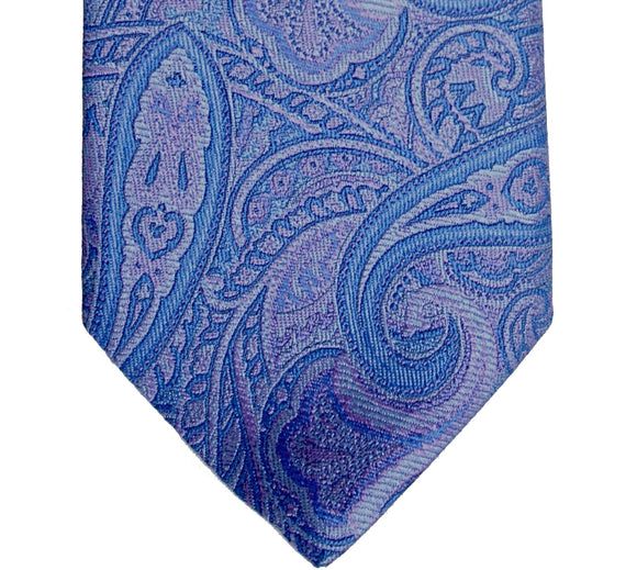 Ike Behar Purple and Blue Silk Paisley Necktie