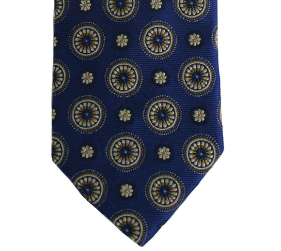 Robert Talbott Blue and Gold Medallion Silk Necktie