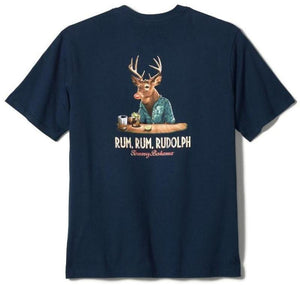 Tommy Bahama Rum, Rum Rudolph Graphic Short Sleeve T-Shirt - Navy