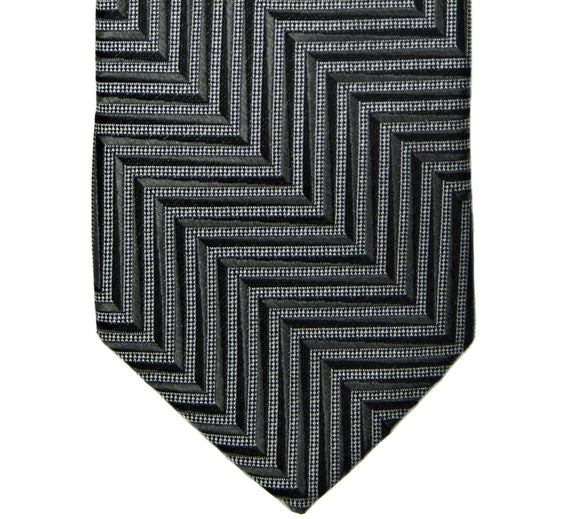 Calvin Klein Black/Gray Herringbone Stripe Silk Tie