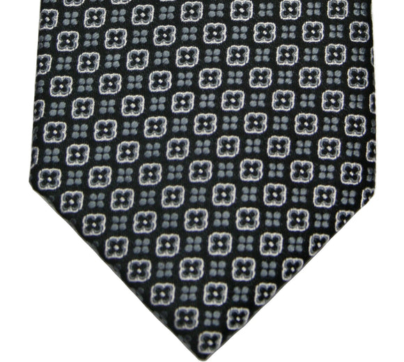 Countess Mara Black/Gray Geometric Silk Necktie