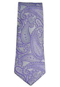 Countess Mara Lavender and Silver Paisley Silk Necktie