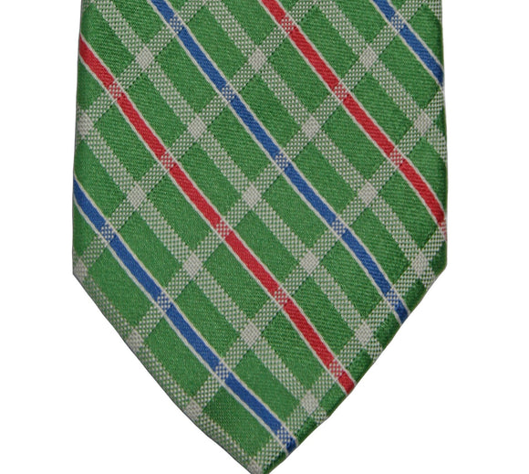 Faconnable Green Candy Check Silk Tie