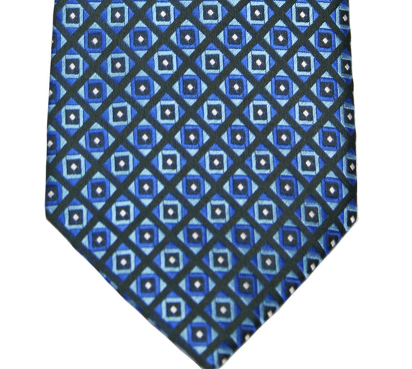 Geoffrey Beene Blue Boxed Geometric Silk Blend Necktie