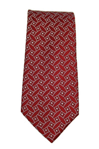 Geoffrey Beene Red Geometric Silk Tie
