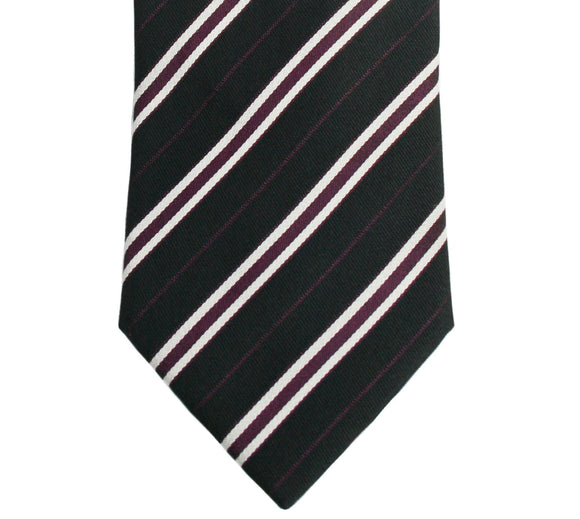 Hugo Boss Black with Burgundy and White Stripe Silk Necktie