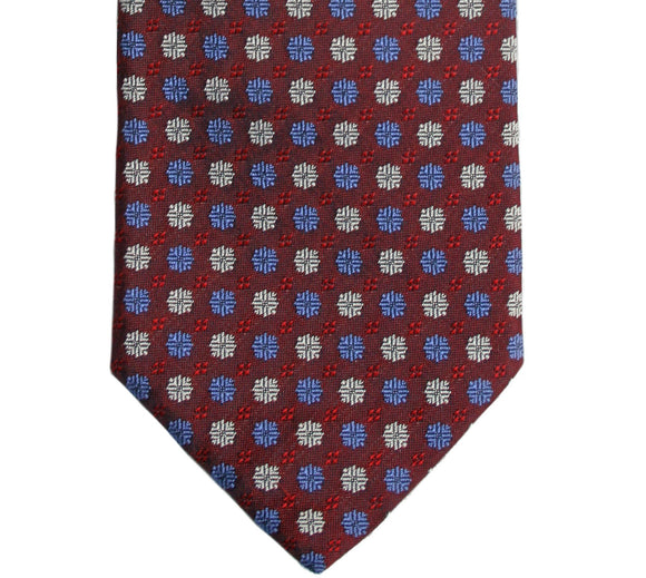 Hugo Boss Geometric Floral Burgundy Silk Necktie