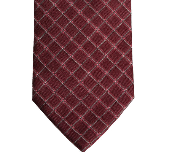 Hugo Boss Burgundy Red Geometric Grid Tie