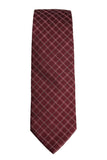 Hugo Boss Burgundy Red Geometric Grid Necktie
