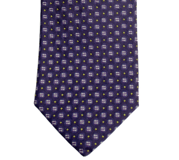 Hugo Boss Purple Boxed & Dotted Grid Silk Necktie