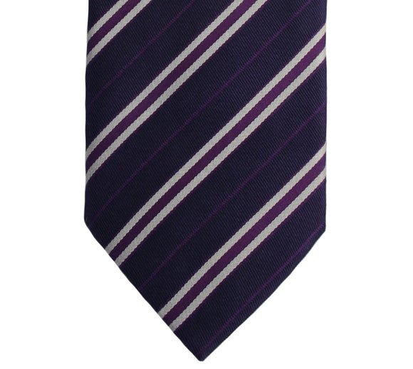 Hugo Boss Purple and Silver Gray Stripe Silk Necktie