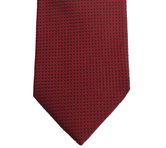 Hugo Boss Red and Black Boxed Grid Silk Necktie