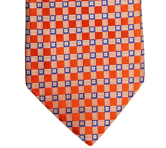 Ike Behar Orange Geometric Silk Tie