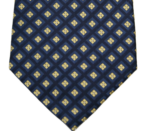 IZOD Navy and Gold Geometric Silk Necktie