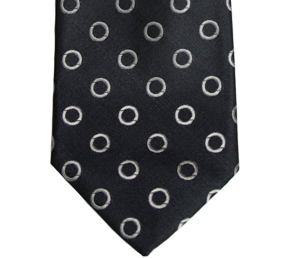 John Varvatos Black and Silver Geometric Silk Tie