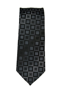 Kenneth Cole Black Tonal Silk Geometric Tie