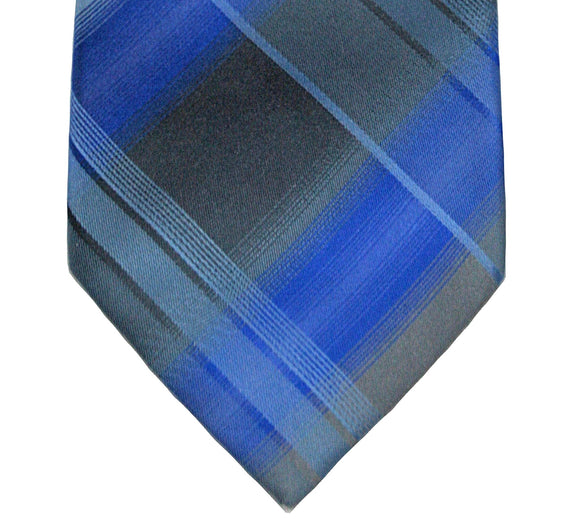Kenneth Cole Blue Plaid Silk Tie