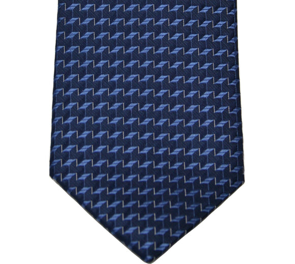 Kenneth Cole Tonal Navy Geometric Silk Tie