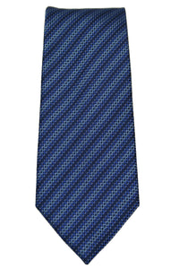 Kenneth Cole Tonal Blue Stripe Silk Justin Micro Tie