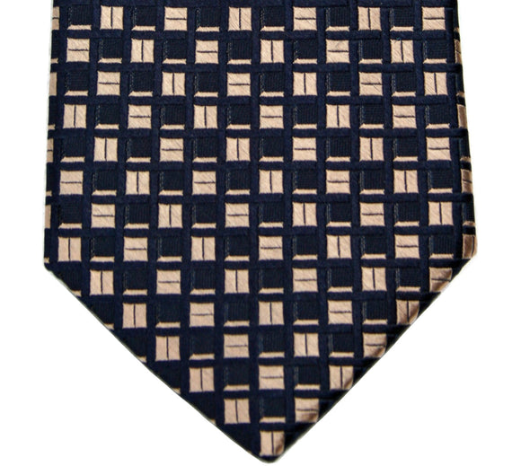 Michael Kors Navy Metallic Copper Geometric Silk Necktie