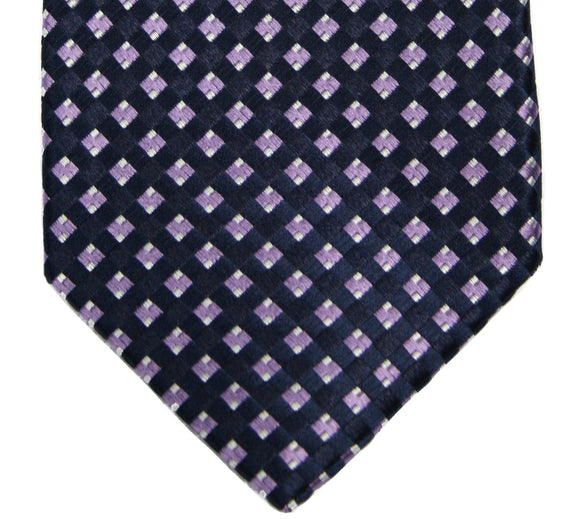Michael Kors Navy/Purple Diamond Grid Silk Necktie