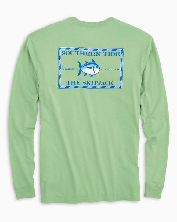 Southern Tide Long Sleeve Original Skipjack T-Shirt - Bay Leaf Green