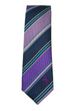 Penguin Purple and Blue Stripe Skinny Silk Tie
