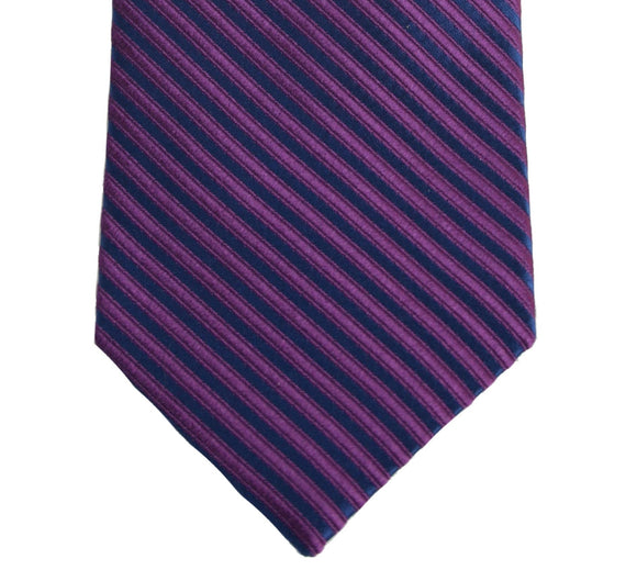 Robert Talbott Navy and Purple Stripe Silk Necktie