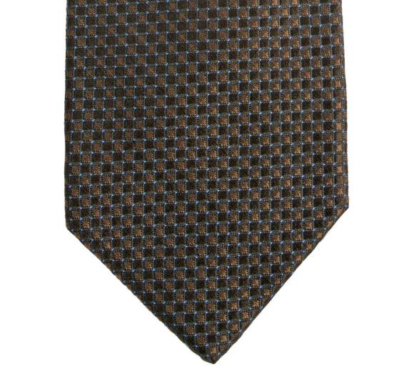 Robert Talbott Tonal Brown Boxed Grid Silk Necktie