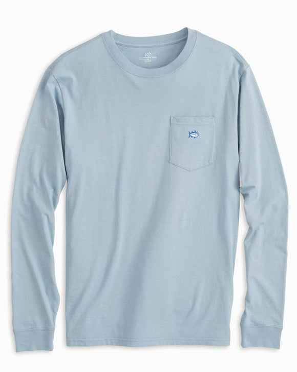 Southern Tide Long Sleeve Embroidered Pocket T-Shirt - Tsunami Grey