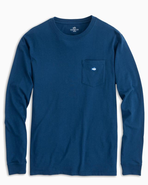 Southern Tide Long Sleeve Embroidered Pocket T-Shirt - Yacht Blue