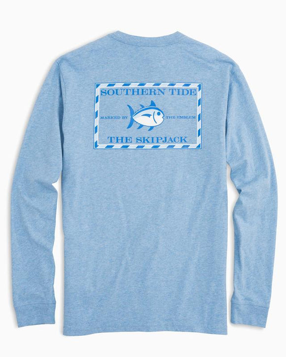 Southern Tide Heathered Original Skipjack L/S T-Shirt - Ocean Channel
