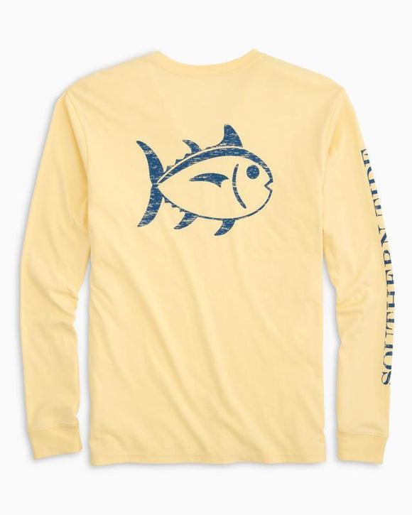 Southern Tide Distressed Outline Skipjack Long Sleeve Tee - Daffodil
