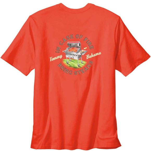 Edit website SEO Tommy Bahama In Case of Fire Bring Steaks T-Shirt - Mango Tango
