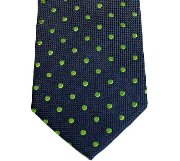 Tommy Hilfiger Navy and Green Dotted Silk Tie