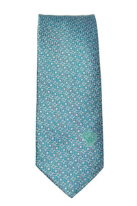Versace Aqua Connected Geometric Medusa Silk Necktie
