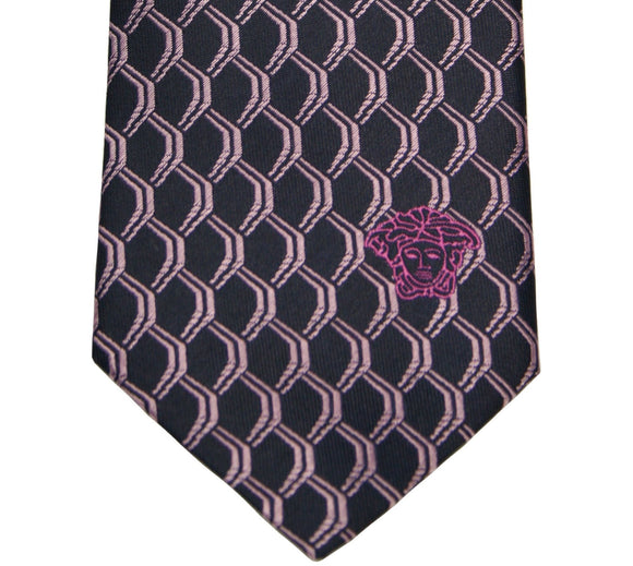 Versace Navy and Lavender Geometric Silk Tie
