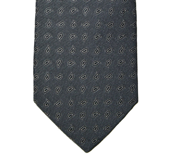 Yves Saint Laurent Gray Teardrop Paisley Silk Tie