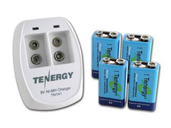 Tenergy TN141 2 Bay 9V Smart Charger with 4 pcs 9V 250mah NiMH Rechargeable Batteries