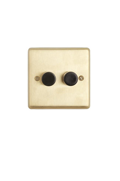 Brushed Brass 2-gang 2-way Dimmer Switch - Black