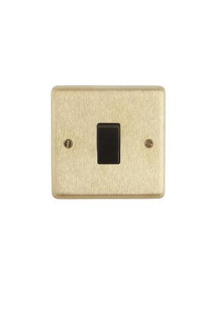Brushed Brass 1-gang 2-way Switch - Black