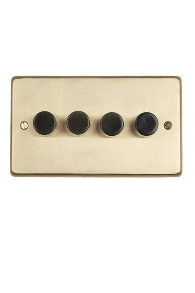 Brushed Brass 4-gang 2-way Dimmer Switch - Black