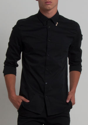"MENEZ MEN""S BUTTON UP SHIRT WITH A ZIPPER SPINE - MENEZ"