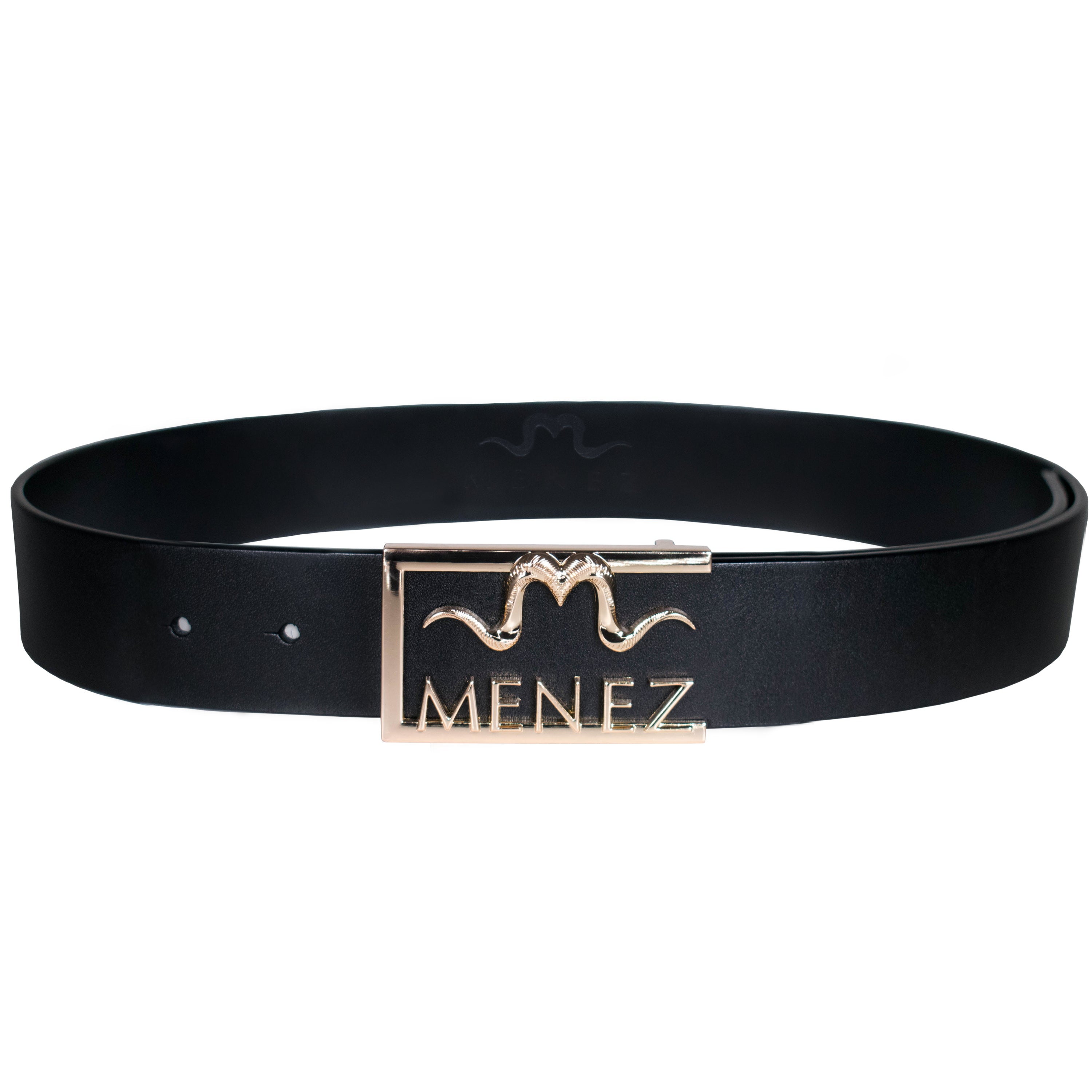 "MENEZ ""M"" HORNS BLACK LEATHER BELT FOR MEN - MENEZ"