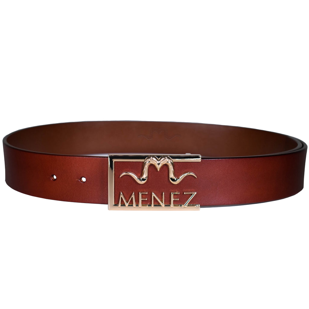 "MENEZ ""M"" HORNS MAHOGANY LEATHER BELT FOR MEN - MENEZ"