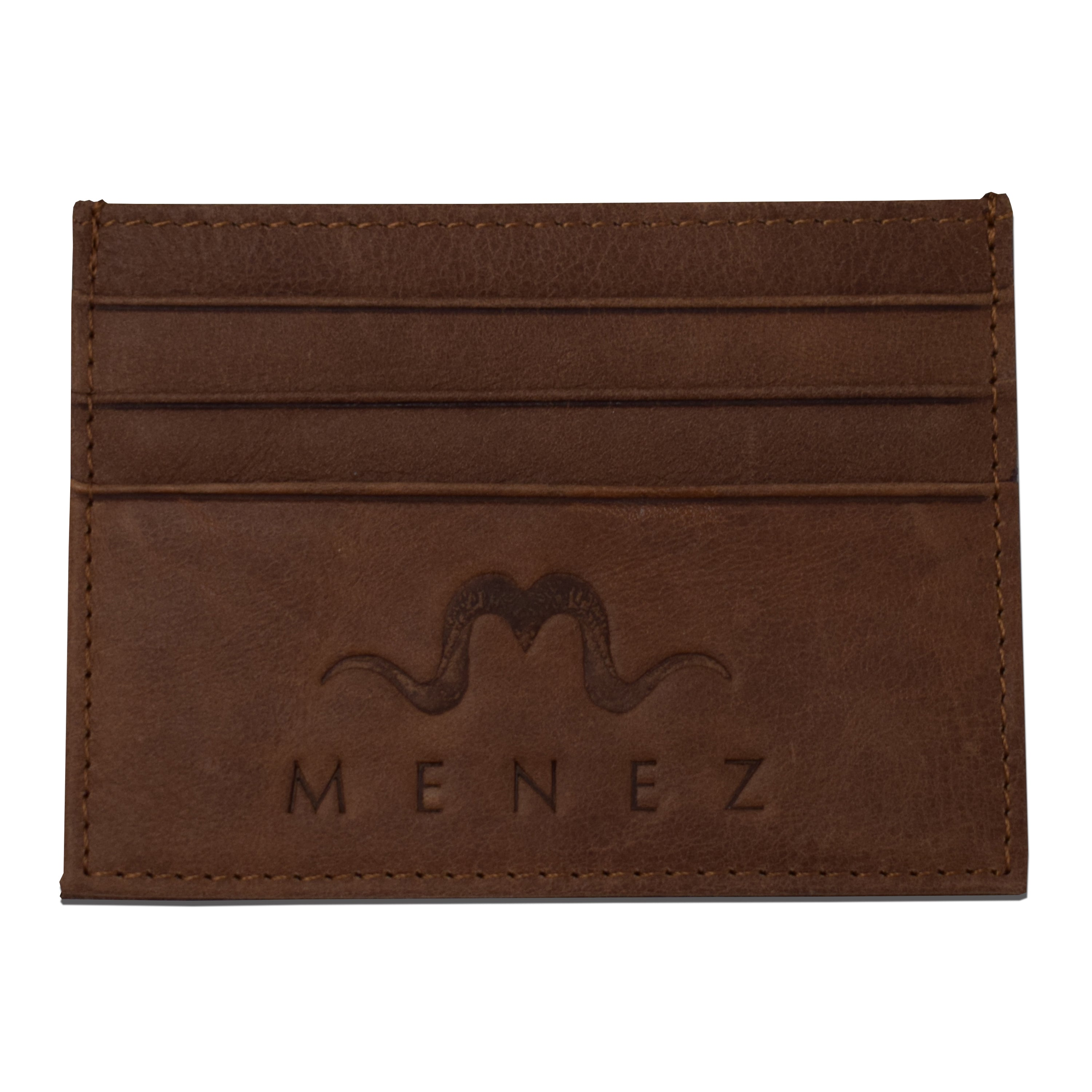 MENEZ™ BROWN LEATHER CARD HOLDER - MENEZ