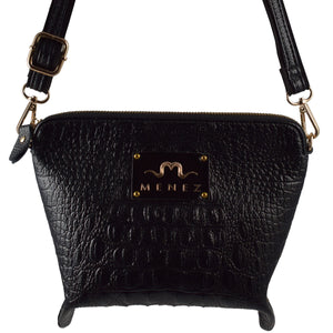 MENEZ™ LILY CROC EMBOSSED BLACK VEGAN LEATHER HANDBAG - MENEZ