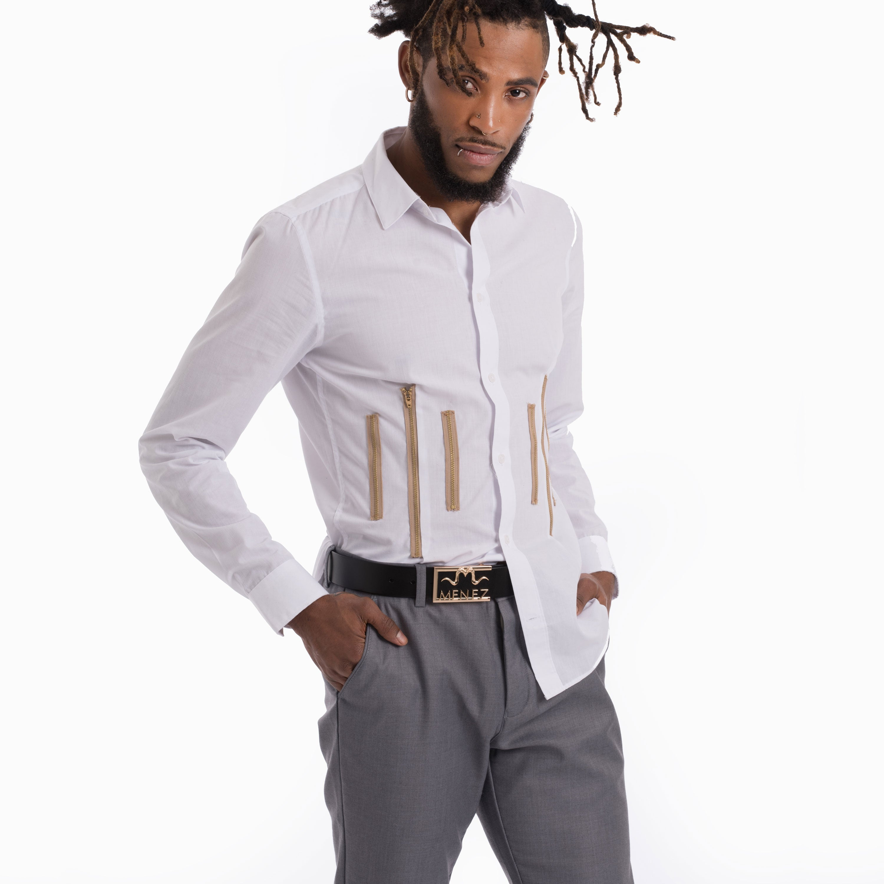 MENEZ WHITE DRESS SHIRT WITH ZIPPERS - MENEZ