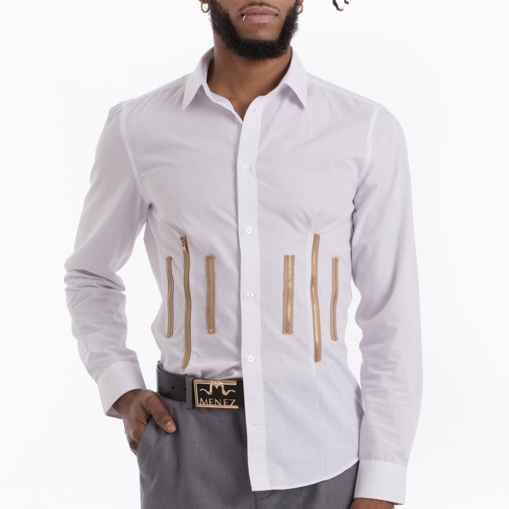 MENEZ WHITE DRESS SHIRT WITH ZIPPERS