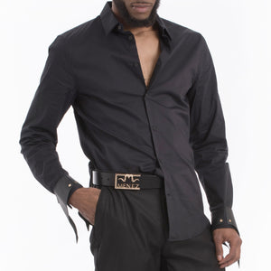 MENEZ BLACK DRESS SHIRT WITH LEATHER CUFFS - MENEZ